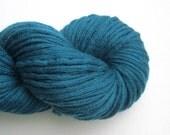 Reclaimed Merino Yarn, Aran Weight, 190 yards, Teal Blue, Lot 110416