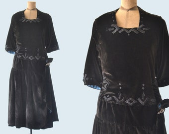 Edwardian Black Velvet Dress size M