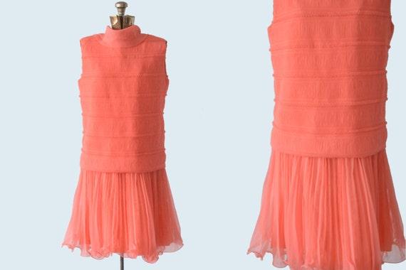 1950s does 1920s coral pink drop waist flapper dress