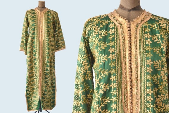 Green and Gold Ethinic Silk Robe size L