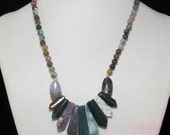moss Agate with Pendant 18 inch Necklace