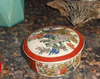 1970's Vintage Satsuma  Porcelain Trinket dish with lid Japan