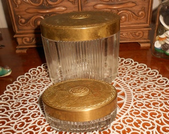 Two Vintage Art Nouveau Style Vanity Jar with Ribbed and Footed Glass And Brass Repousse Floral Lid