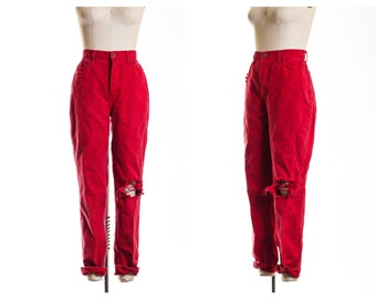 80s Red  Busted Knee  Mom Jeans size 12