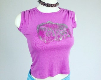 90's Princess Glitter Pastel Pink T-shirt Crop Top  // S- M