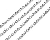 SALE 3 Feet Antiqued Silver Round Chain Oval Soldered Unfinished Necklace Bracelet, 2x3mm, A8-001p