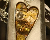 Clockwork Heart with Dragnfly Gears and Watch Parts Steampunk Pendant Heart Necklace (2132)