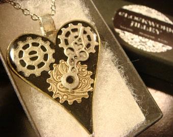 Clockwork Heart with Watch Hands Steampunk Necklace- Black & Silver  (2137)