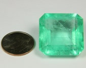 HUGE! 50.30cts Medium Spring Green Loose Natural Colombian Emerald