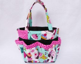 Cupcake  Print Bingo Bag  // Craft Organizer // Makeup Organizer // Caddy // Teacher Tote // Nurse Tote