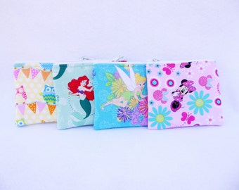 Party Favors Set of 4 Assorted Coin Bags //Little Mermaid //Ariel // Owls // Tinkerbell // Disney // Minnie Mouse //