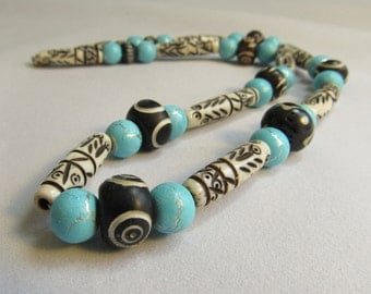 Chunky Bone Necklace for Men or Women, Earthy, White, Black, Brown, Carved Hand Painted Bone, African, Bold, Turquoise Bead