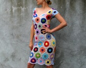 Cute Sexy Beautiful Crochet Colorful 100% Cotton Thread Dress - White Background