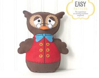 "Felt Owl Sewing Pattern, Owl Hand Sewing Pattern, Woodland Owl Pattern, ""Professor Hootington"", Instant Download"