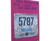 running medal holder and Race bibs holder: running - She believed she could so she did.