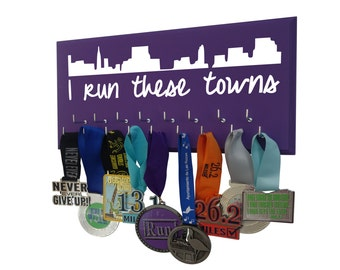 I run these town - skyline medals holder - running medals hanger - holder - display - runners gifts