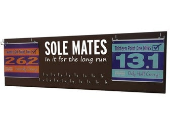 race bibs and race bibs and medals holder -  race bibs and race bibs and medals hanger - running running: inspirational quote - Sole mates