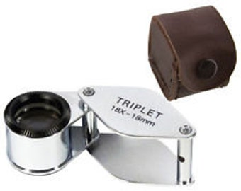 CLOSEOUT---Choice Of 10X or 18X Jeweler's Triplet Loupe w/ Leather Case
