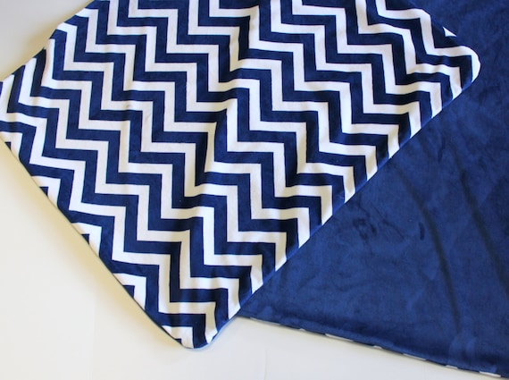 Lovely Baby Blanket in Navy Chevron