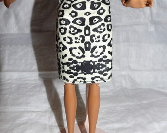 Fashion Doll Coordinates - Black & white African print skirt - es375