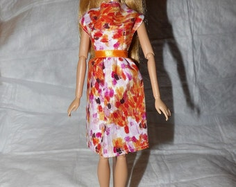 Orange sponge print dress for Fashion Dolls - ed870