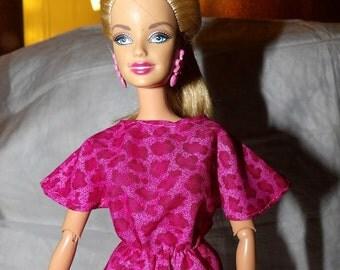 Fashion Doll Coordinates - Hot pink Leopard print bat wing top - es385
