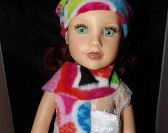 Colorful Fleece hat & scarf set for 18 inch dolls - ag257