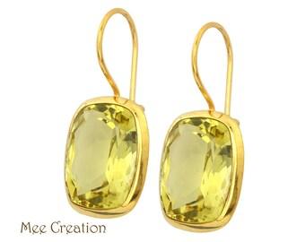 EE8150007) Lemon Quartz Earrings, Lemon Quartz Concave Cut Earrings, Yellow Earrings, Quartz Earrings, Lemon Quartz Drop Earrings, Bohemian