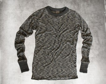 Space dye knit top/Sweater abstract texture/extra long sleeves/crew neck shirt