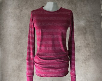 Sweater metallic stripe top/Fuschia pink knit/Extra long sleeve/crew neck shirt