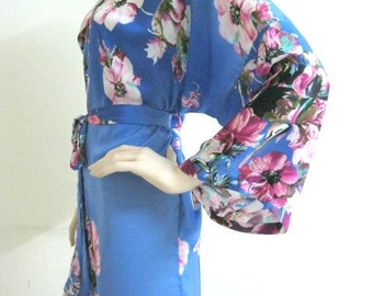Floral BLUE Purple Robe Women Silk Robe Bridesmaid Robes Dressing Bridal Shower Party Robes Night Dress GownHANDMADE TO ORDER