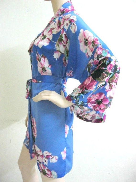 Bridesmaid robes Floral Blue bridesmaid robe floral kimono floral robes wedding bridal robe dressing gown sale cheap robe flower girl robe