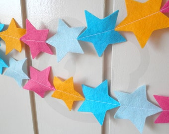 Bright Star Bunting - made with wool blend felt in bright colours, perfect for kids room or birthday
