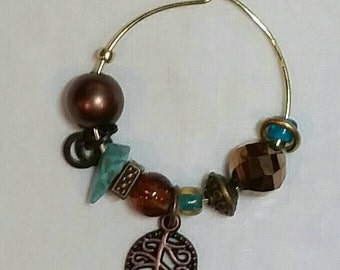 Beautiful Leaf Wine Glass Charm