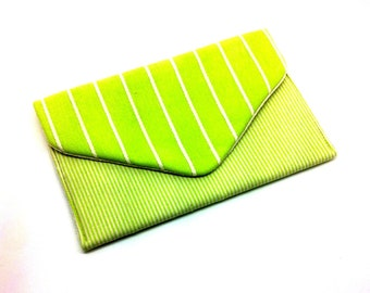 Lime Green Envelope Clutch Bag Coin Purse Wallet White Pin Stripe Gift for Women Cotton Magnetic Snap
