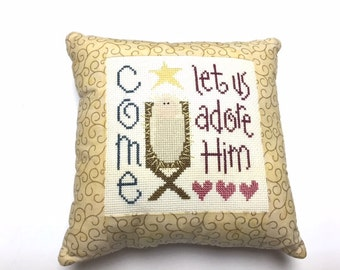 Lizzie Kate, Finished Cross Stitch, Completed Cross Stitch, Christmas Pillow, Hand Embroidered