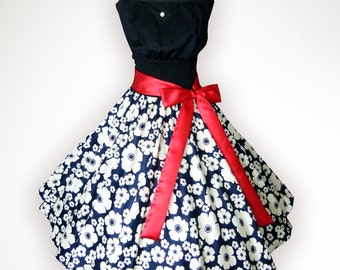 Winsome Wind Neck Black & White Floral 50s Pin up Rockabilly Swing Dress Full Swing Skirt Plus Size 18 20 22