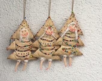Handmade Christmas tree decorations Christmas ornament Textile Christmas tree