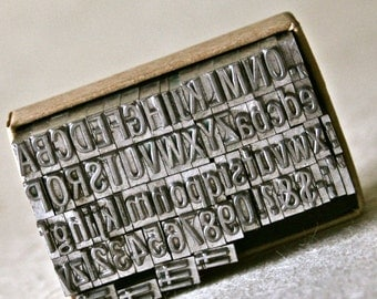 Letterpress Type in Small Clear Font for Printing Stamping and Clay Stamping