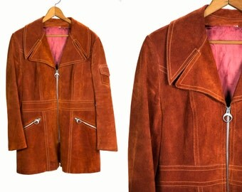 Vintage 1970's Leather Western Zip Up Retro Jacket Unisex Adults Rust Red Brown Color Hip Size Medium Large