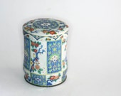 Ornate Vintage Blue Asian Tea Tin Round Made in England Shabby Cottage Decor Rustic Storage Organization