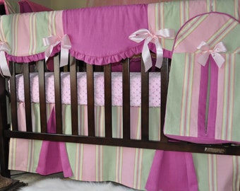 Custom  Crib bedding set 7 pc, ready to ship, Momogramming available, inventory SALE
