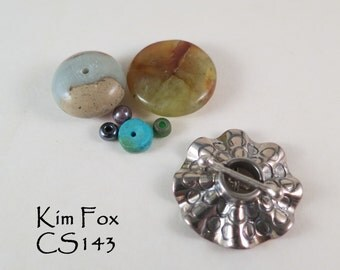 Round Toggle Two Strand Secure Clasp with Sea Urchin Ruffle in Sterling Silver by Kim Fox
