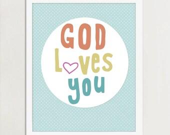 God Loves You Art, Child Bedroom Art, FREE custom colors