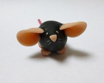 Fancy Rat Ornament Black Dumbo Dumpy Rat Mouse Sculpture