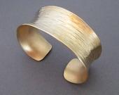 Gold Cuff Bracelet in Solid Brass Slim Line Textured Metal Jewelry Bangle Cuff Bracelet Artisan Handmade Metalsmith Modern Jewelry