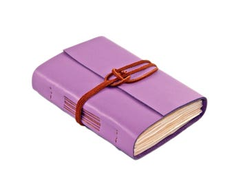 Light Purple Leather Journal - Tea Stained Paper - Handmade Journal - Travel Journal - Leather Journal - Wedding Journal -  Ready To Ship