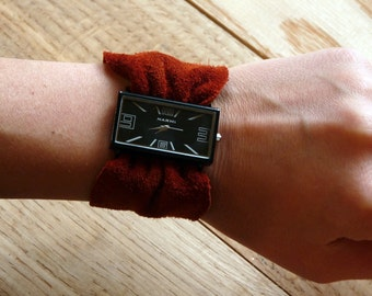 Leather Wrap Watch,Foxy Red Leather watch, Suede leather watch, square watchface