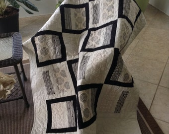 """Beige/Tan/Black - 52"""" x 76"""" - Contemporary/Modern Quilt - ready to ship"""