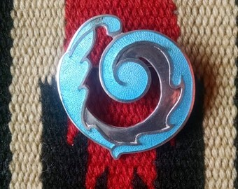 Margot de TAXCO sterling Silver Enameled Blue Wave swirl  Pin Brooch